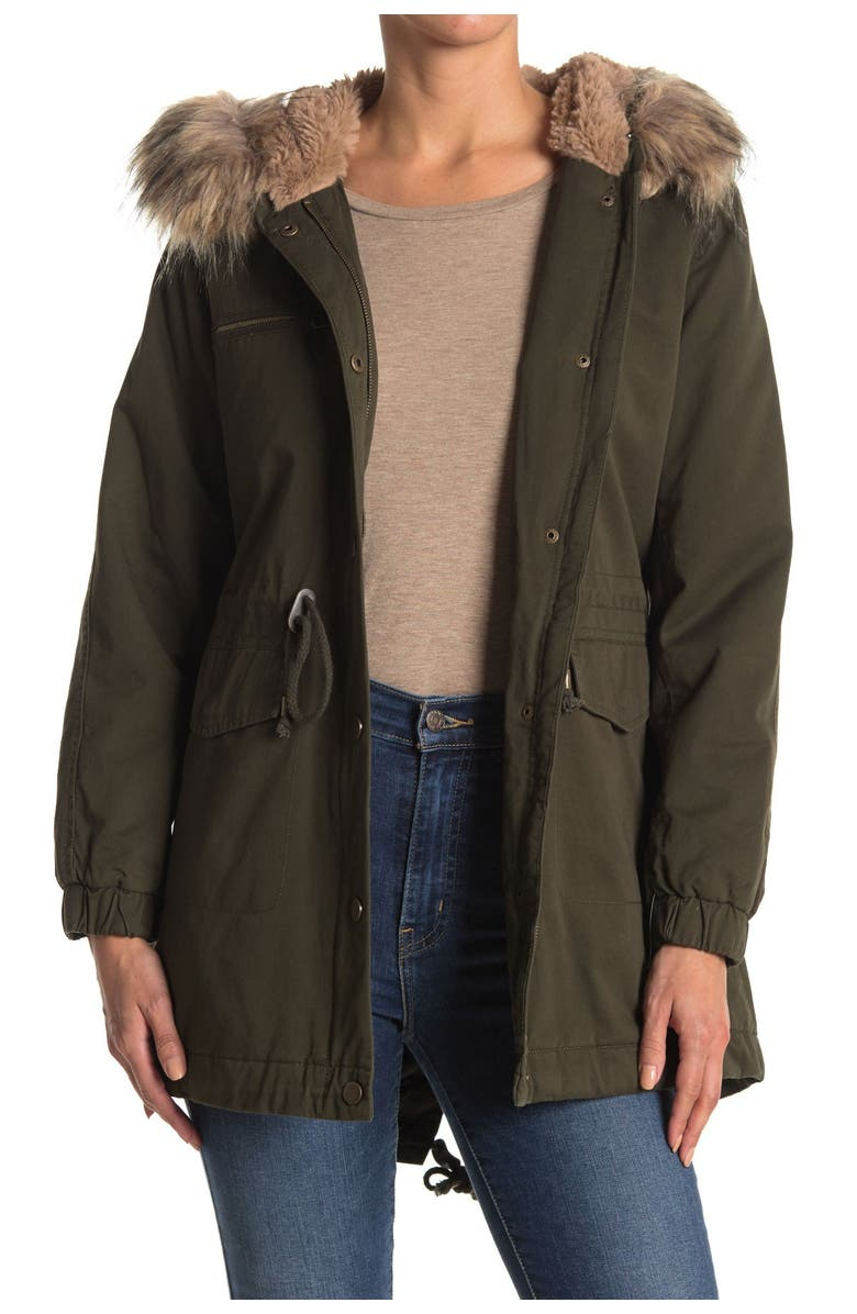 LUCKY BRAND Faux Fur Trim Hooded Anorak Jacket, Main, color, AGN