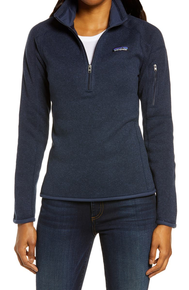 PATAGONIA Better Sweater Quarter Zip Performance Jacket, Main, color, NEW NAVY