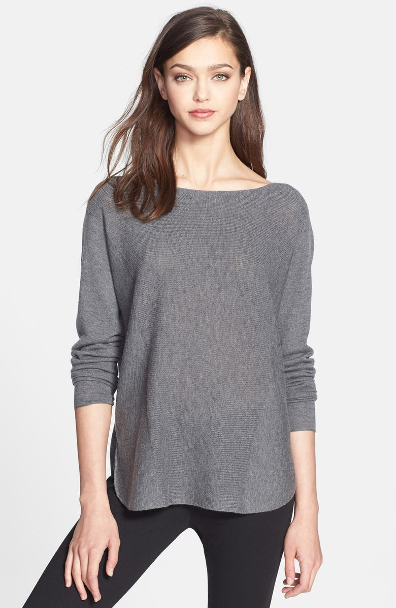 VINCE Rack Stitch Shirttail Sweater, Main, color, 010
