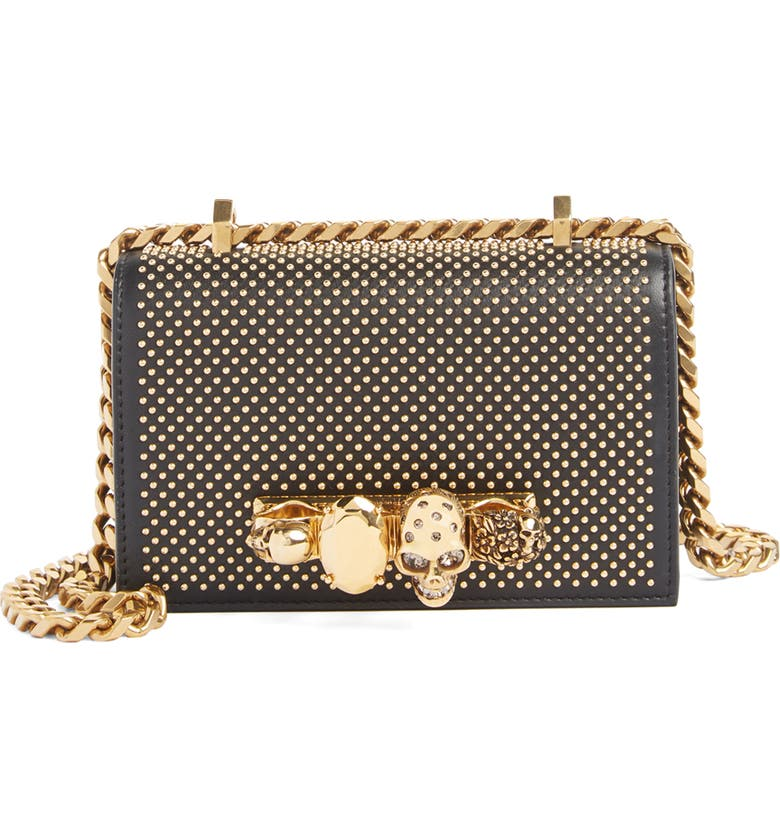 ALEXANDER MCQUEEN Mini Studded Leather Knuckle Crossbody Bag, Main, color, 001