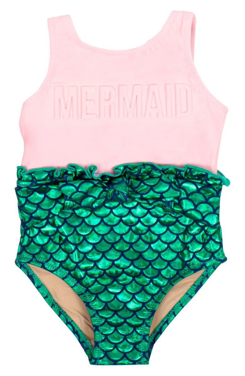 SHADE CRITTERS Mermaid One-Piece Swimsuit, Main, color, PINK/ GREEN