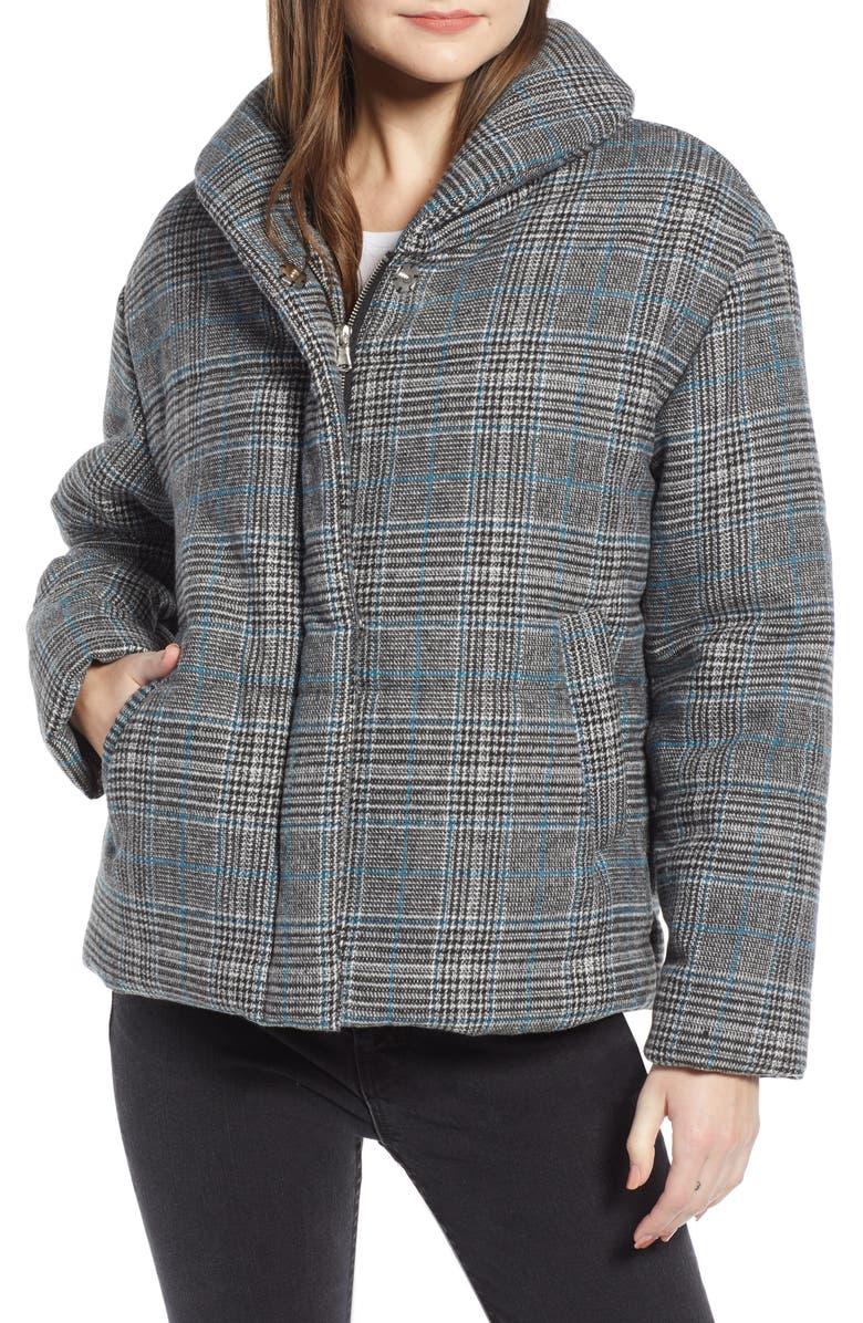 SOMETHING NAVY Plaid Puffer Jacket, Main, color, 030