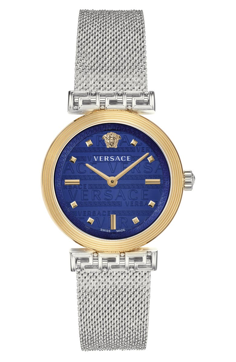 VERSACE Greca Detailed Mesh Band Watch, 34mm, Main, color, SILVER/ BLUE/