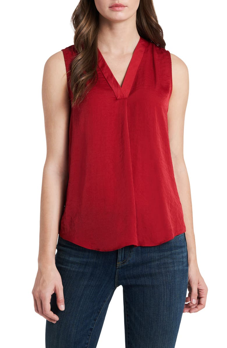 VINCE CAMUTO Rumpled Satin Blouse, Main, color, DEEP RED