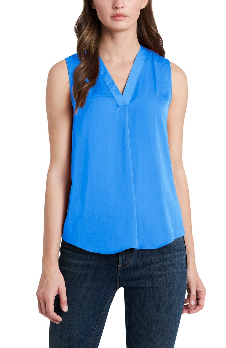 VINCE CAMUTO Rumpled Satin Blouse, Main, color, METRO BLUE