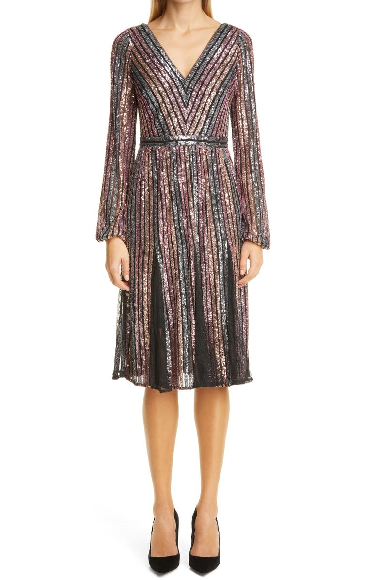 MARCHESA NOTTE Sequin Stripe Long Sleeve Cocktail Dress, Main, color, MAUVE MULTI