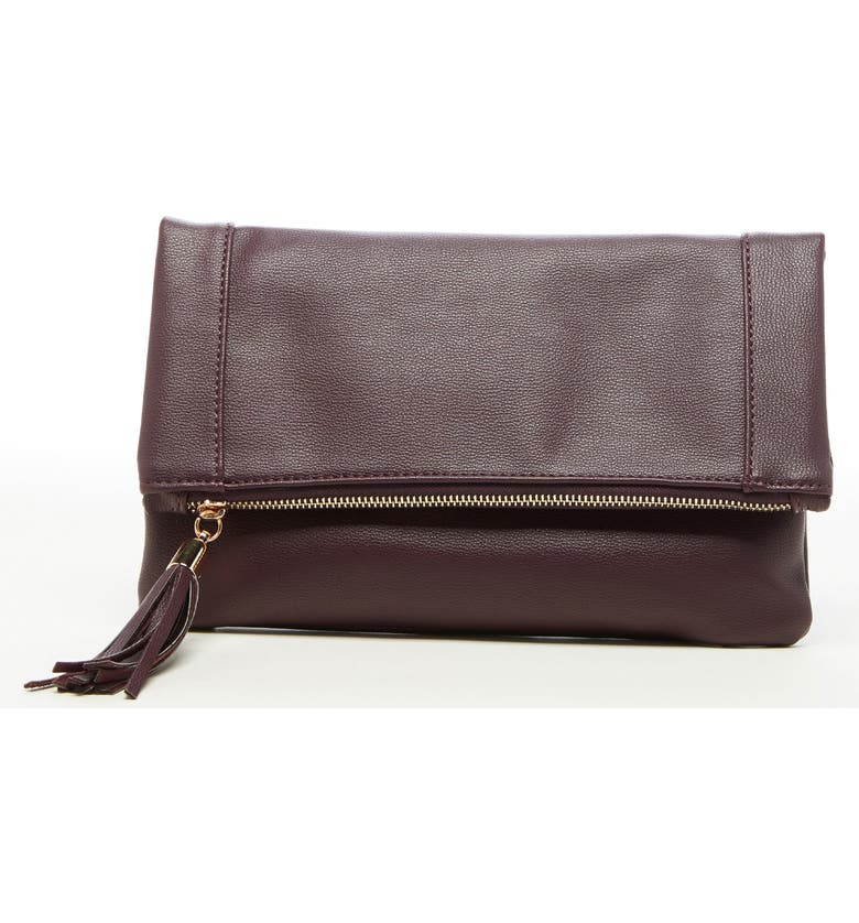SOLE SOCIETY Convertible Faux Leather Clutch, Main, color, OXBLOOD COMBO