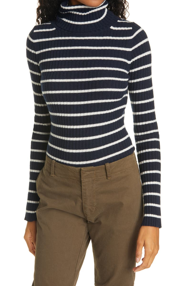 NILI LOTAN Raven Stripe Cashmere Turtleneck Sweater, Main, color, 461