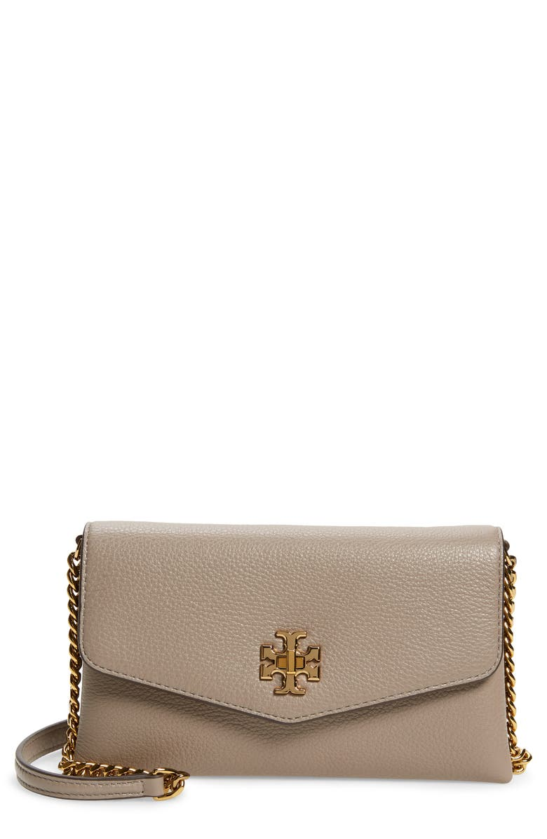 TORY BURCH Kira Pebble Leather Wallet on a Chain, Main, color, GRAY HERON