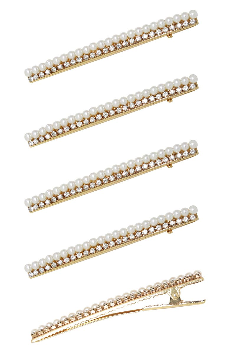 ETTIKA 5-Pack Imitation Pearl & Crystal Hair Clips, Main, color, GOLD