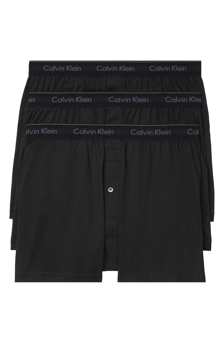 CALVIN KLEIN 3-Pack Knit Cotton Boxers, Main, color, Black
