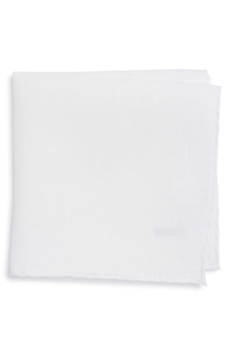ETON Solid Linen Pocket Square, Main, color, WHITE