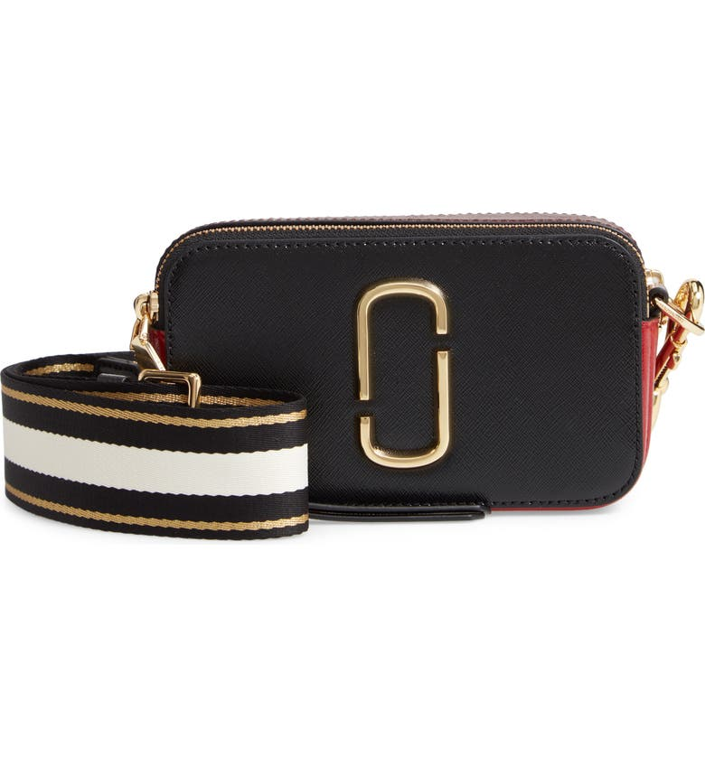 MARC JACOBS The Snapshot Leather Crossbody Bag, Main, color, BLACK/ RED