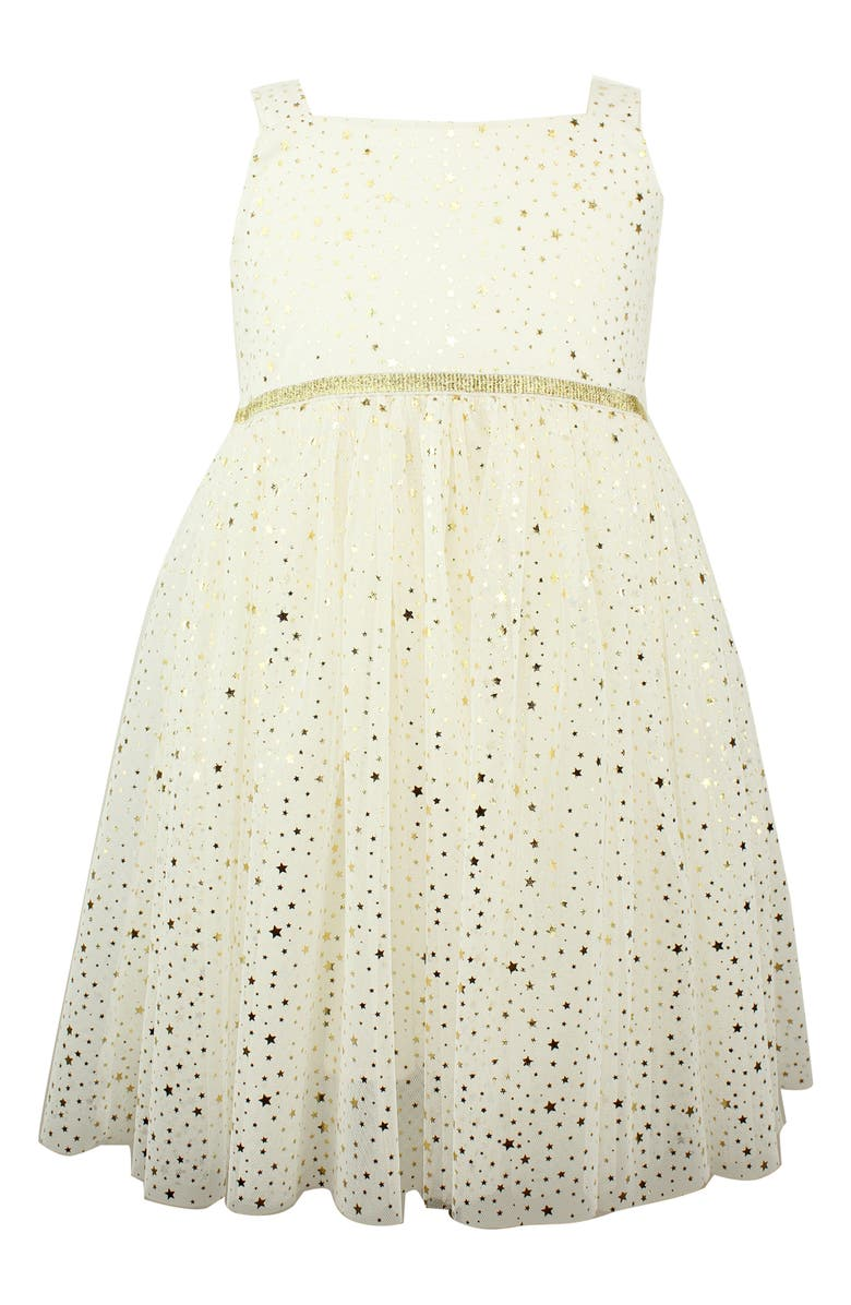 POPATU Metallic Star Tulle Dress, Main, color, WHITE