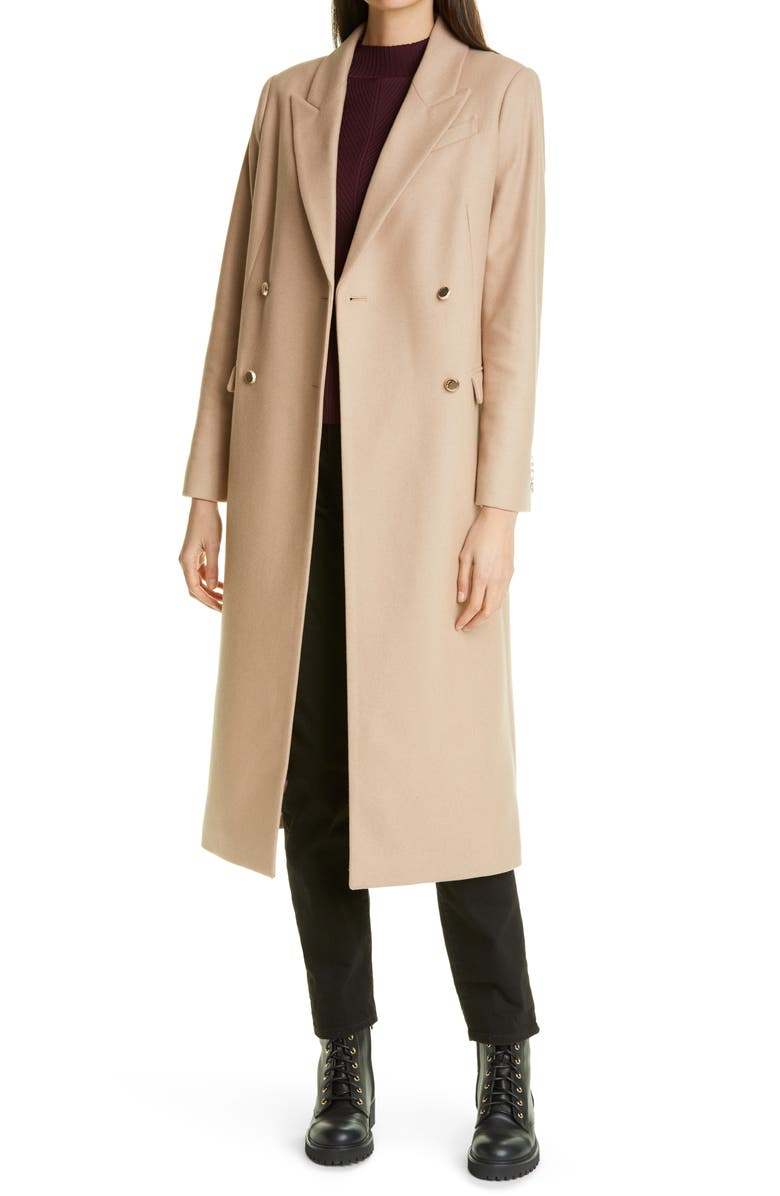 TED BAKER LONDON Yecara Double Breasted Wool Blend Coat, Main, color, CAMEL