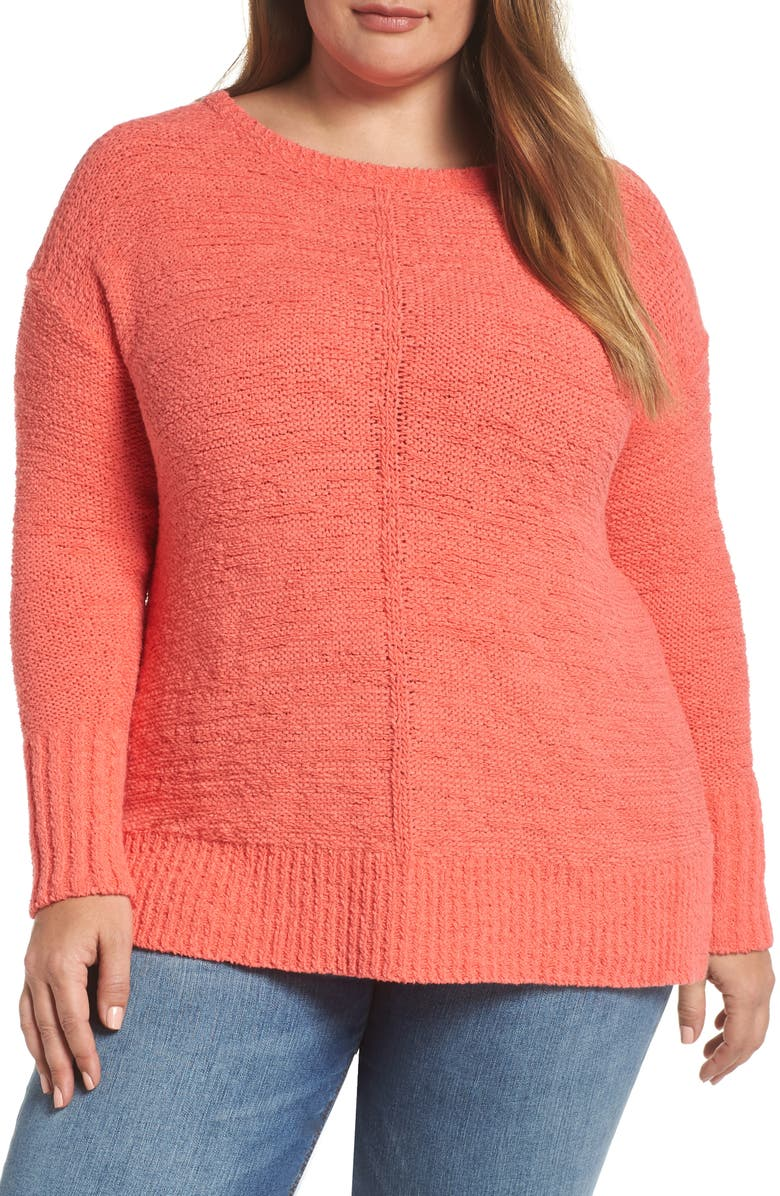 CASLON<SUP>®</SUP> Button Back Sweater, Main, color, CORAL GLOW