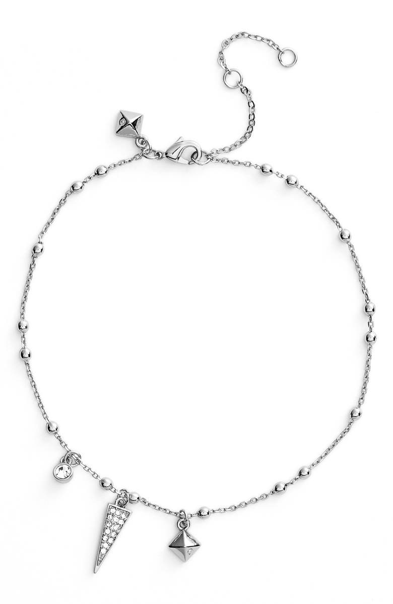 REBECCA MINKOFF Charm Anklet, Main, color, SILVER/ CRYSTAL