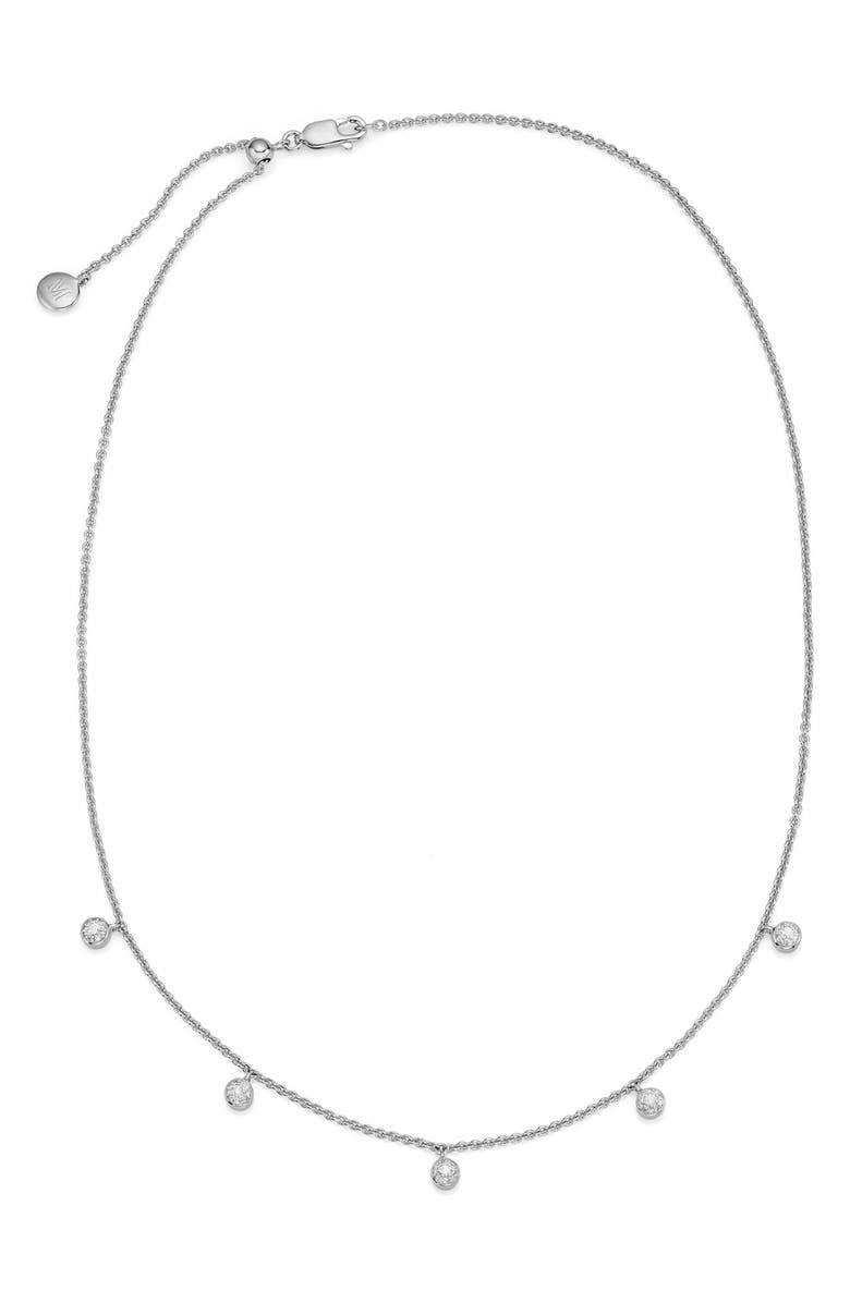 MONICA VINADER Fiji Tiny Button Diamond Slider Necklace, Main, color, SILVER