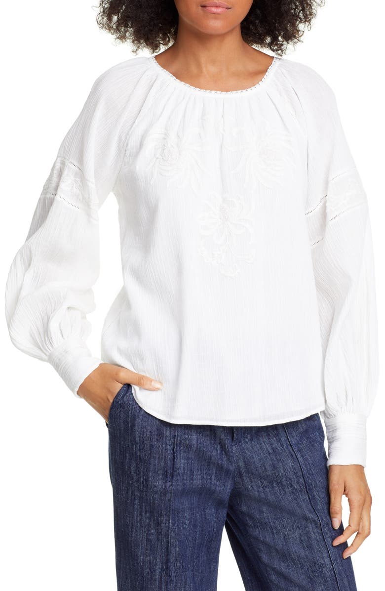 JOIE Mitney Embroidered Detail Cotton Blouse, Main, color, 900