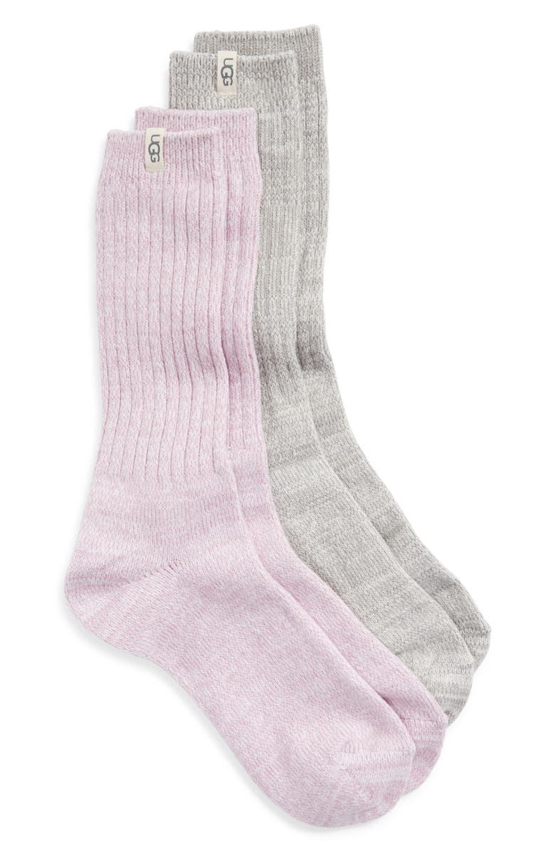 UGG<SUP>®</SUP> 2-Pack Slouchy Ribbed Crew Socks, Main, color, LAVENDER BREEZE / SEAL