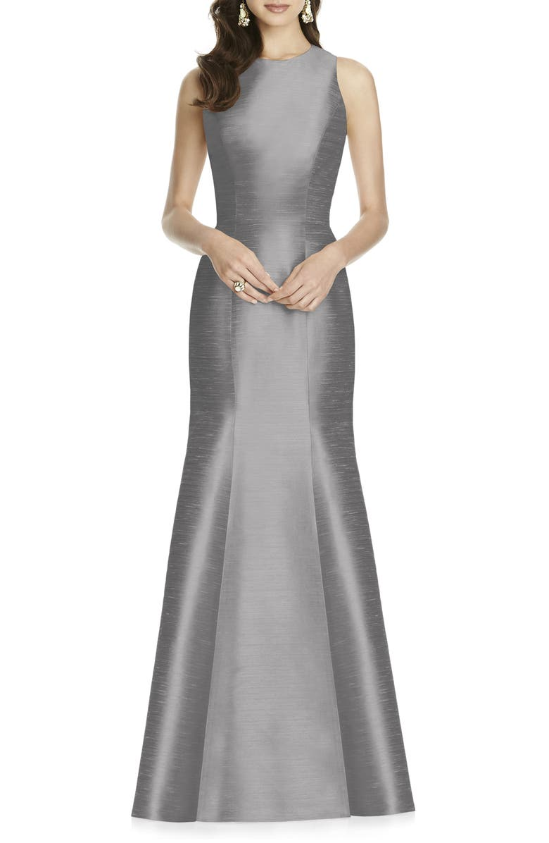 ALFRED SUNG Dupioni Trumpet Gown, Main, color, 020