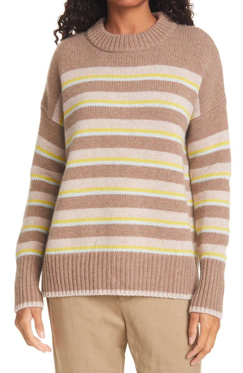 LA LIGNE New Stripe Marin Wool & Cashmere Sweater, Main, color, BEIGE/ LIME/ ICE/ BROWN