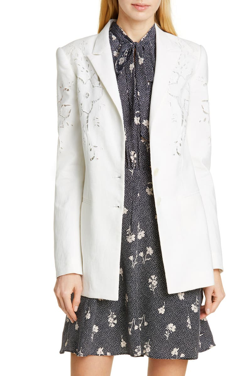TAILORED BY REBECCA TAYLOR Eyelet Embroidery Linen Blend Blazer, Main, color, 900