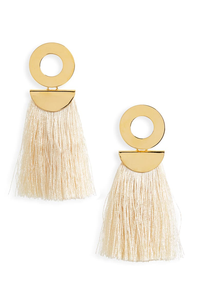 LIZZIE FORTUNATO Go-Go Crater Tassel Drop Earrings, Main, color, WHITE/ GOLD