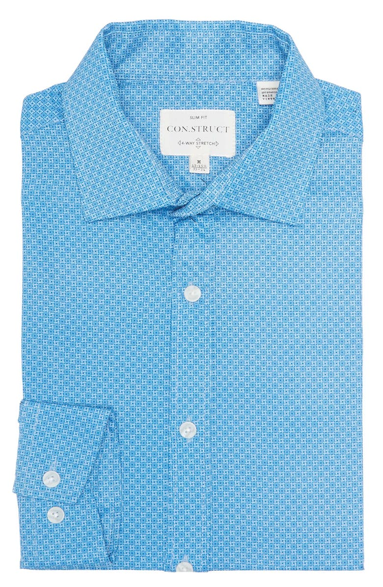 CONSTRUCT Slim Fit Teal Box Geo Wrinkle-Free Stretch Dress Shirt, Main, color, TEAL