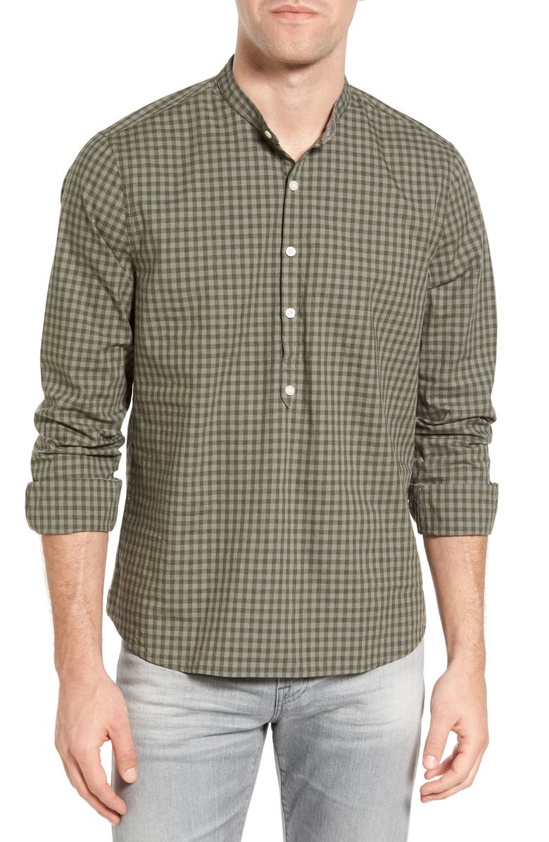 MICHAEL BASTIAN Gingham Band Collar Sport Shirt, Main, color, 301