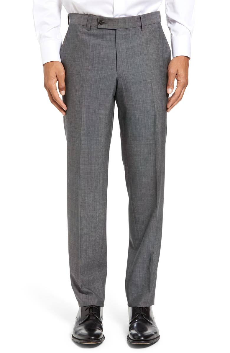 TED BAKER LONDON Jefferson Flat Front Solid Wool Dress Pants, Main, color, 020
