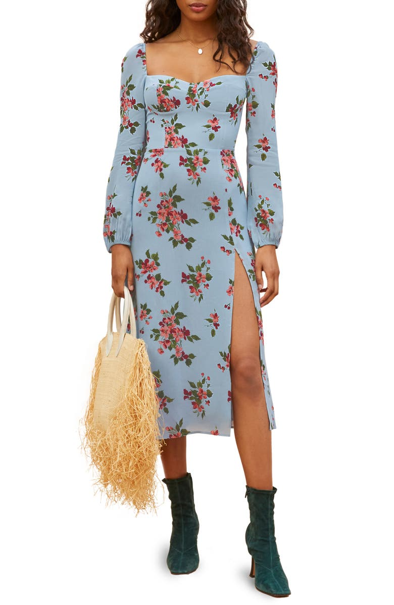REFORMATION Shelby Floral Long Sleeve Dress, Main, color, GIULIA