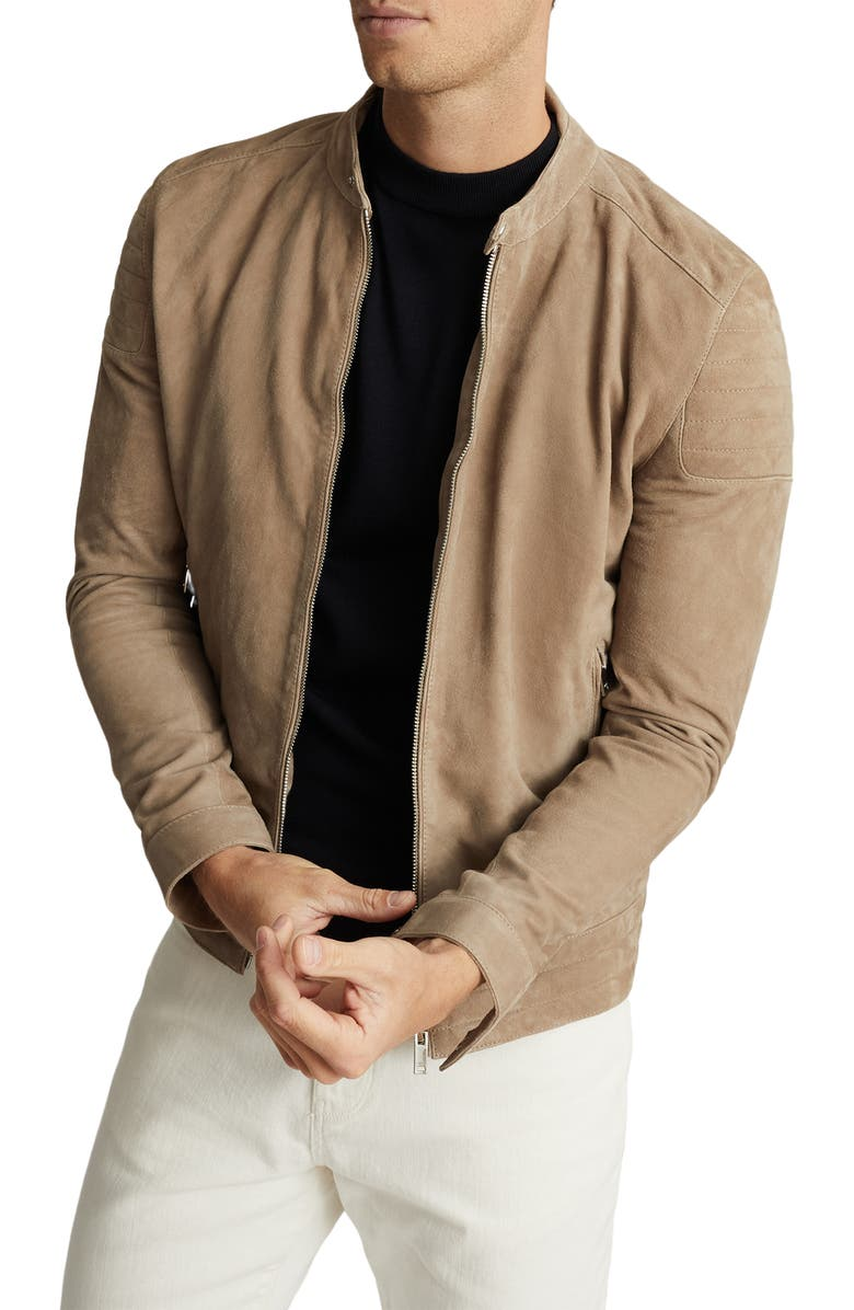 REISS Brooks Slim Fit Leather Jacket, Main, color, 250