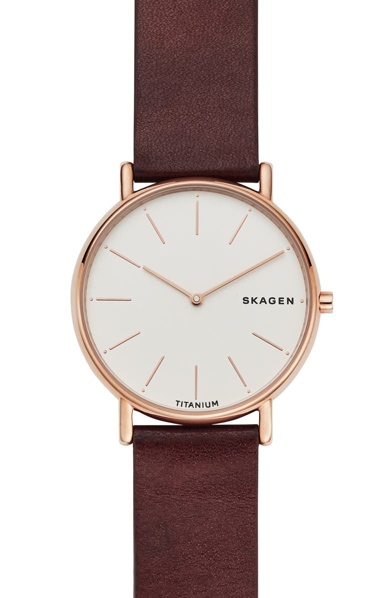 SKAGEN Signatur Leather Strap Watch, 40mm, Main, color, RED/ WHITE/ ROSE GOLD