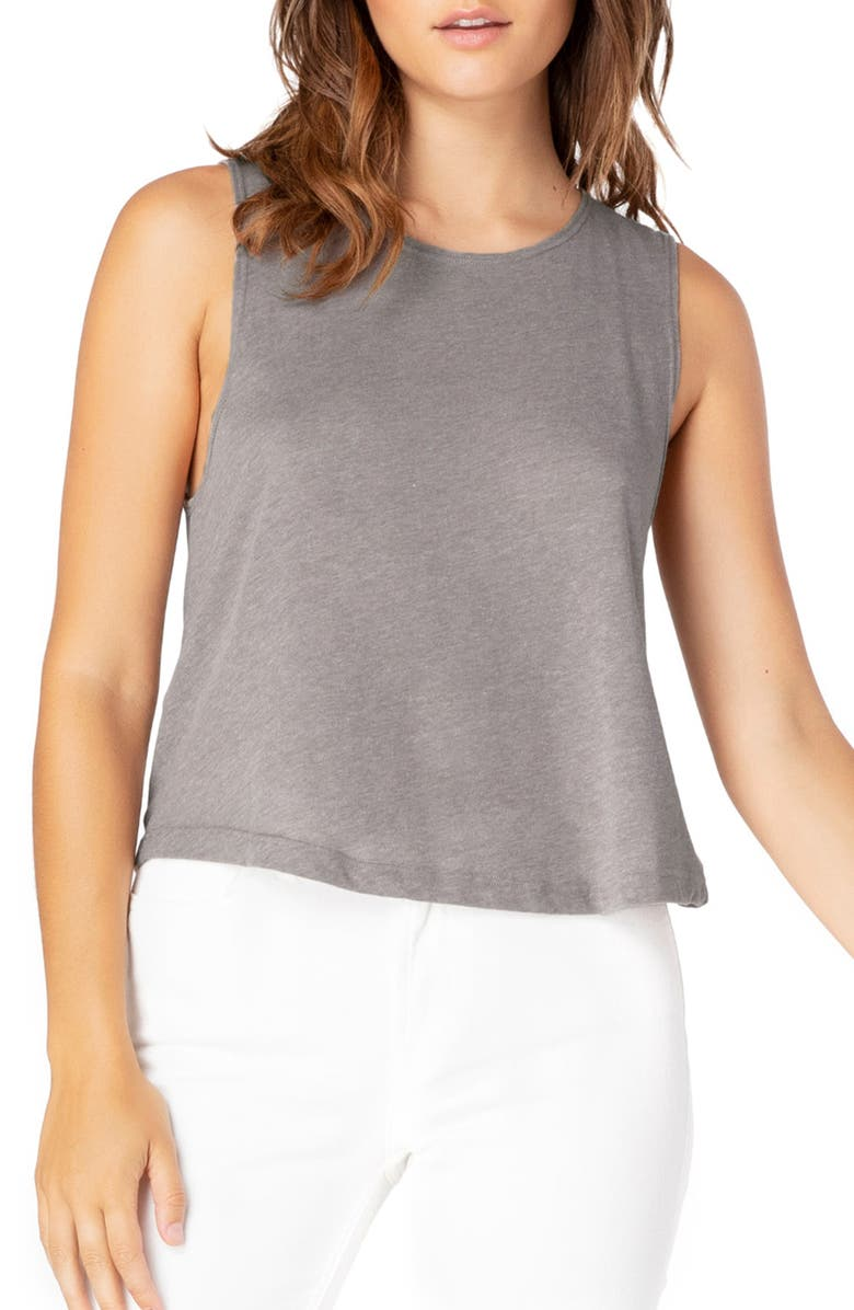 BEYOND YOGA Boyfriend Jersey Aquarius Tank Top, Main, color, LATTE HEATHER