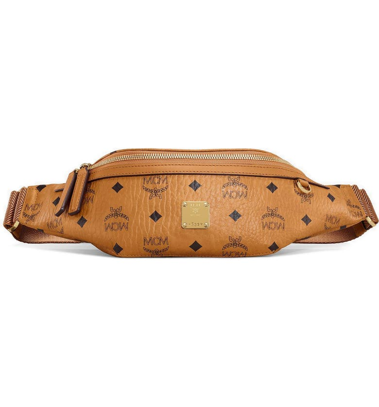 MCM Visetos Small Belt Bag, Main, color, COGNAC