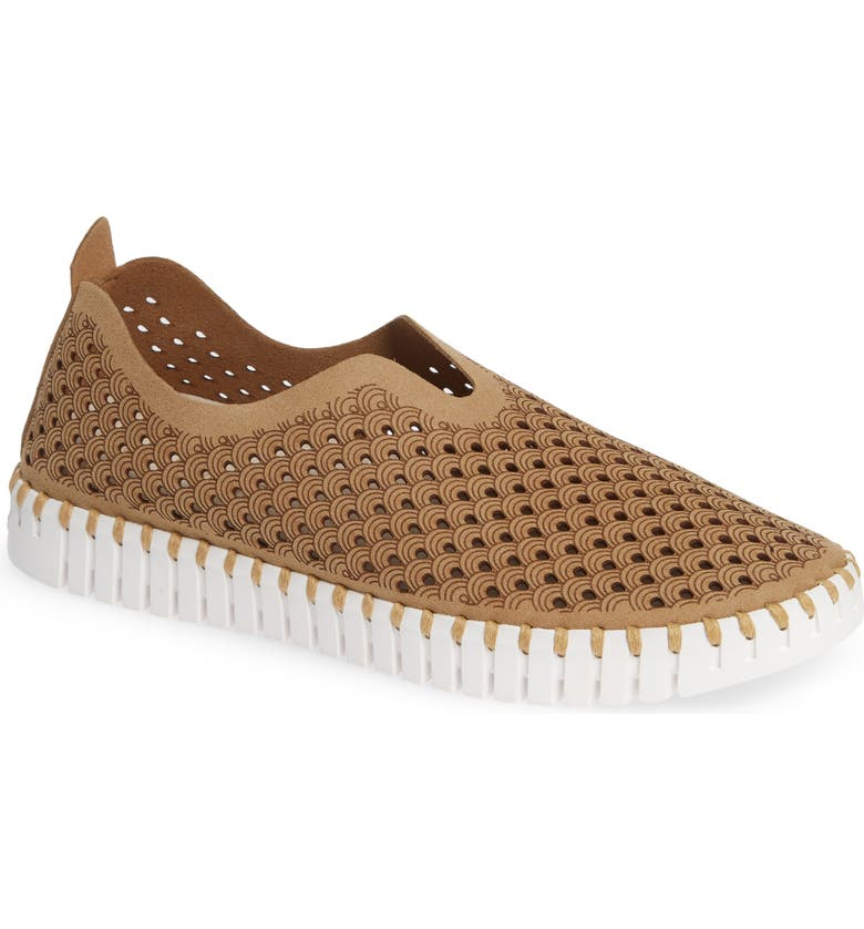 ILSE JACOBSEN Tulip 139 Perforated Slip-On Sneaker, Main, color, LATTE FABRIC