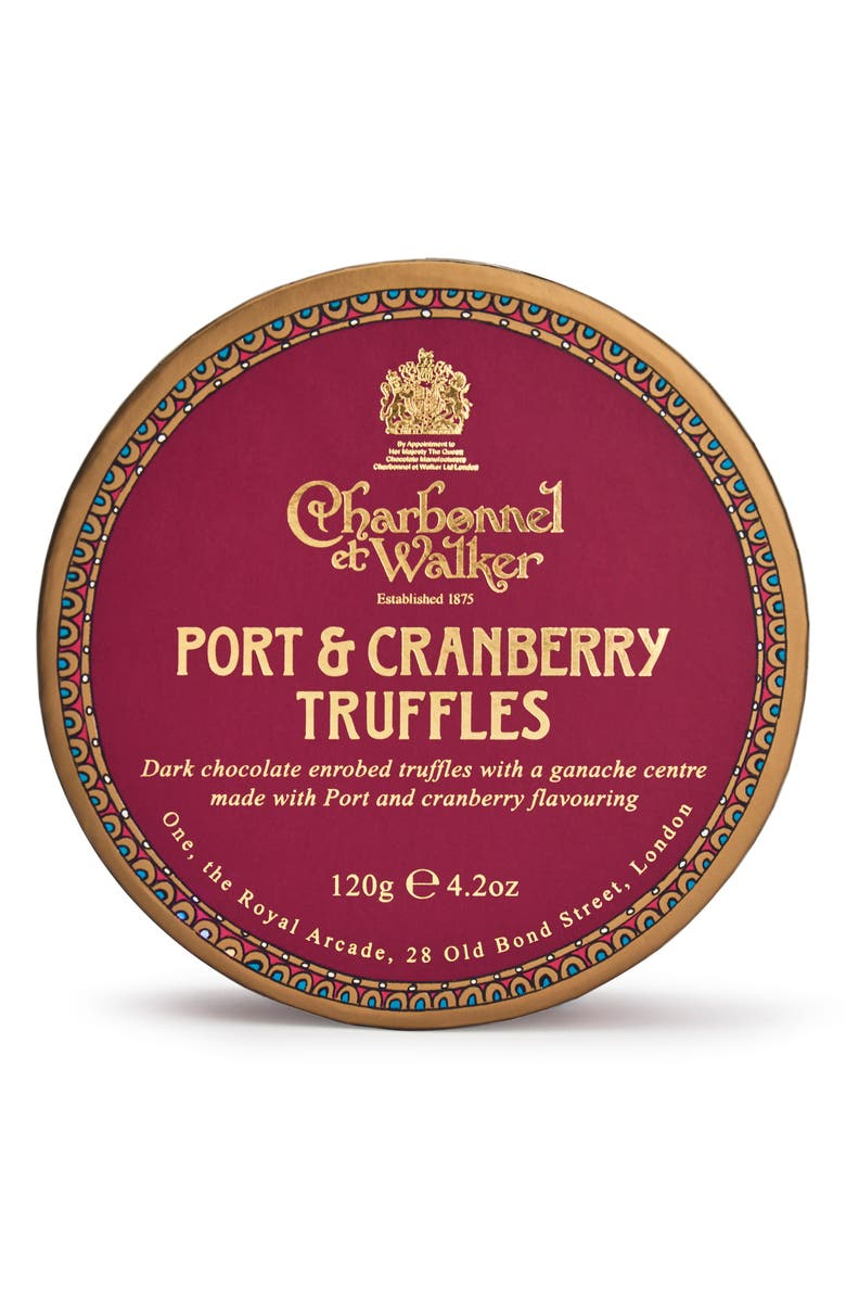 CHARBONNEL ET WALKER Port & Cranberry Flavored Chocolate Truffles in Gift Box, Main, color, 600