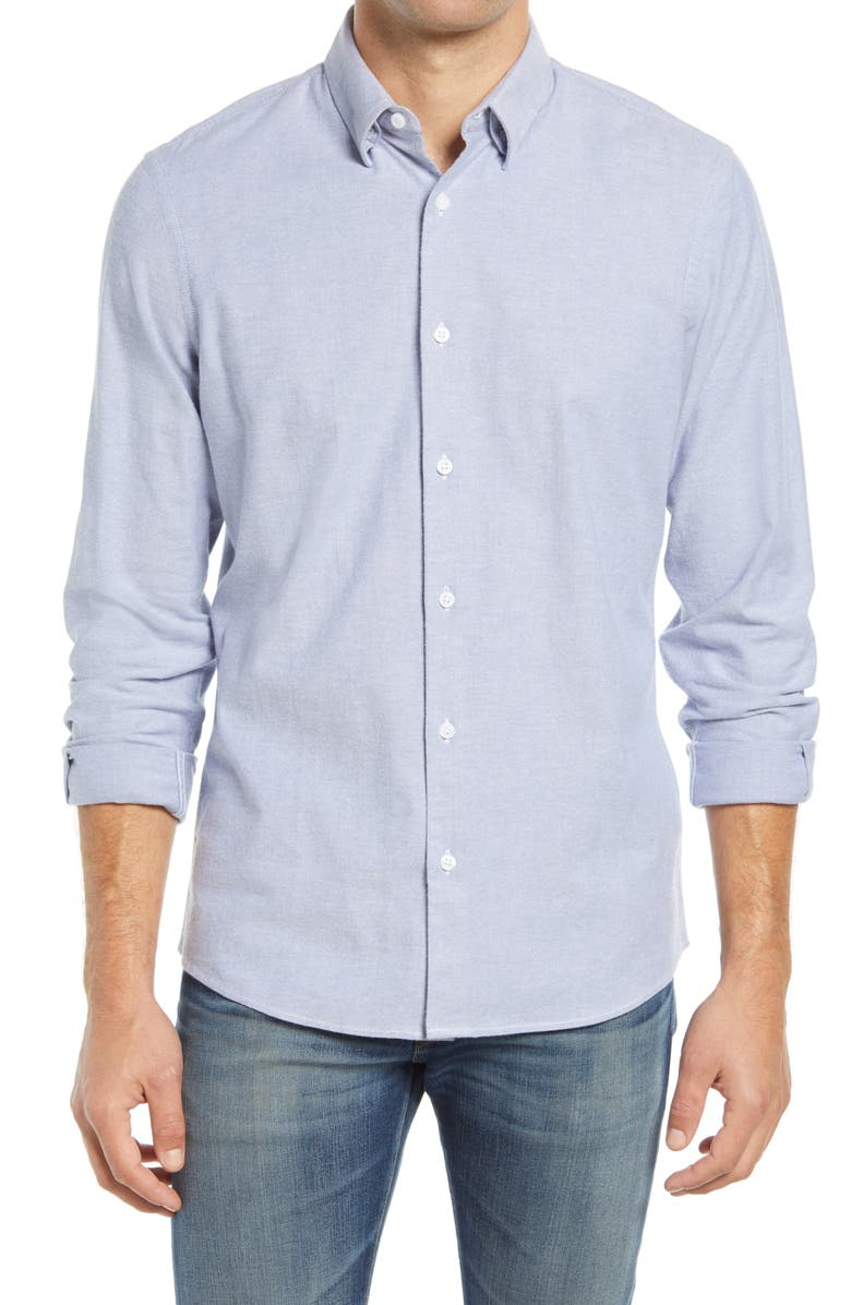 NORDSTROM Oxford Button-Up Performance Shirt, Main, color, BLUE FJORD WHITE