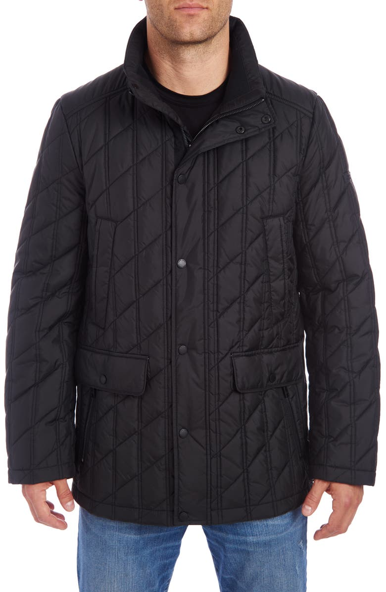VINCE CAMUTO Water Resistant Down & Feather Puffer Jacket, Main, color, 001