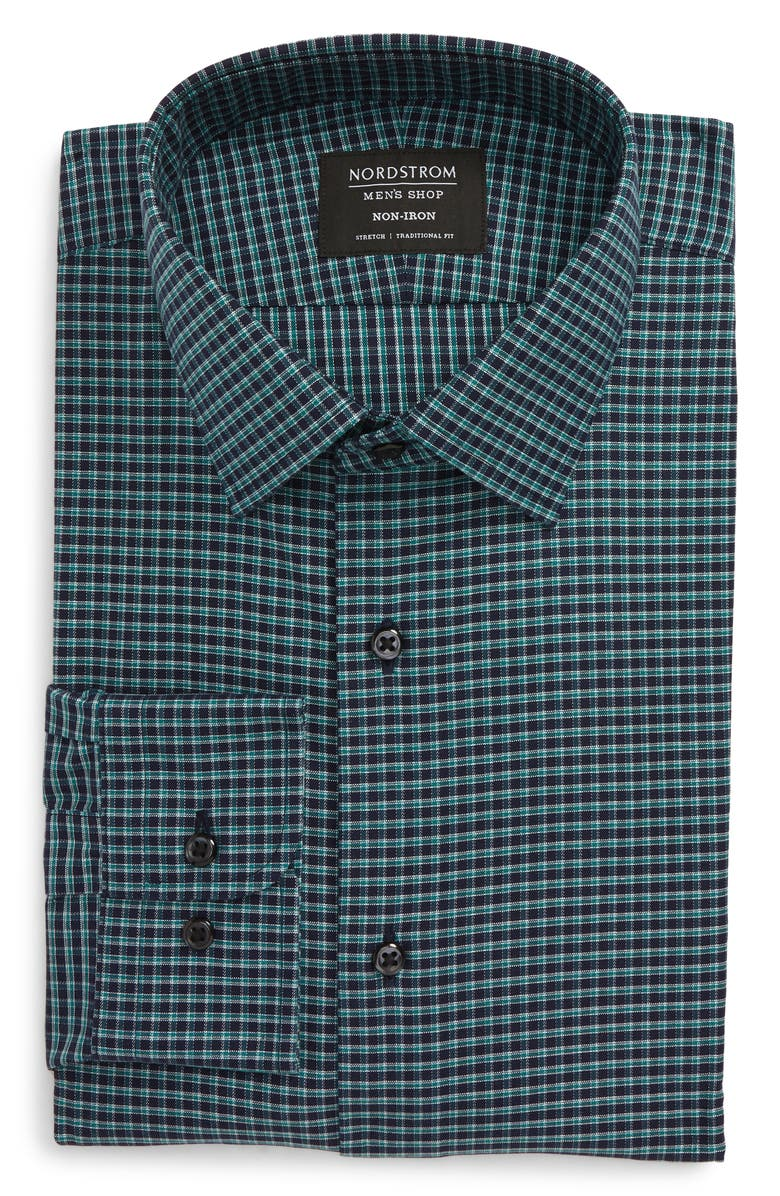 NORDSTROM Men's Shop Traditional Fit Non-Iron Check Dress Shirt, Main, color, 440