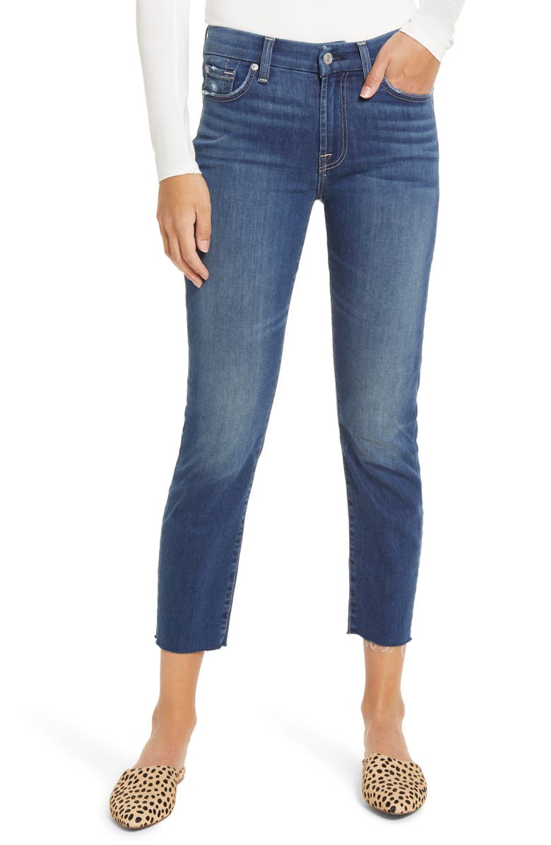 7 FOR ALL MANKIND Kimmie Raw Hem Crop Jeans, Main, color, BEACON