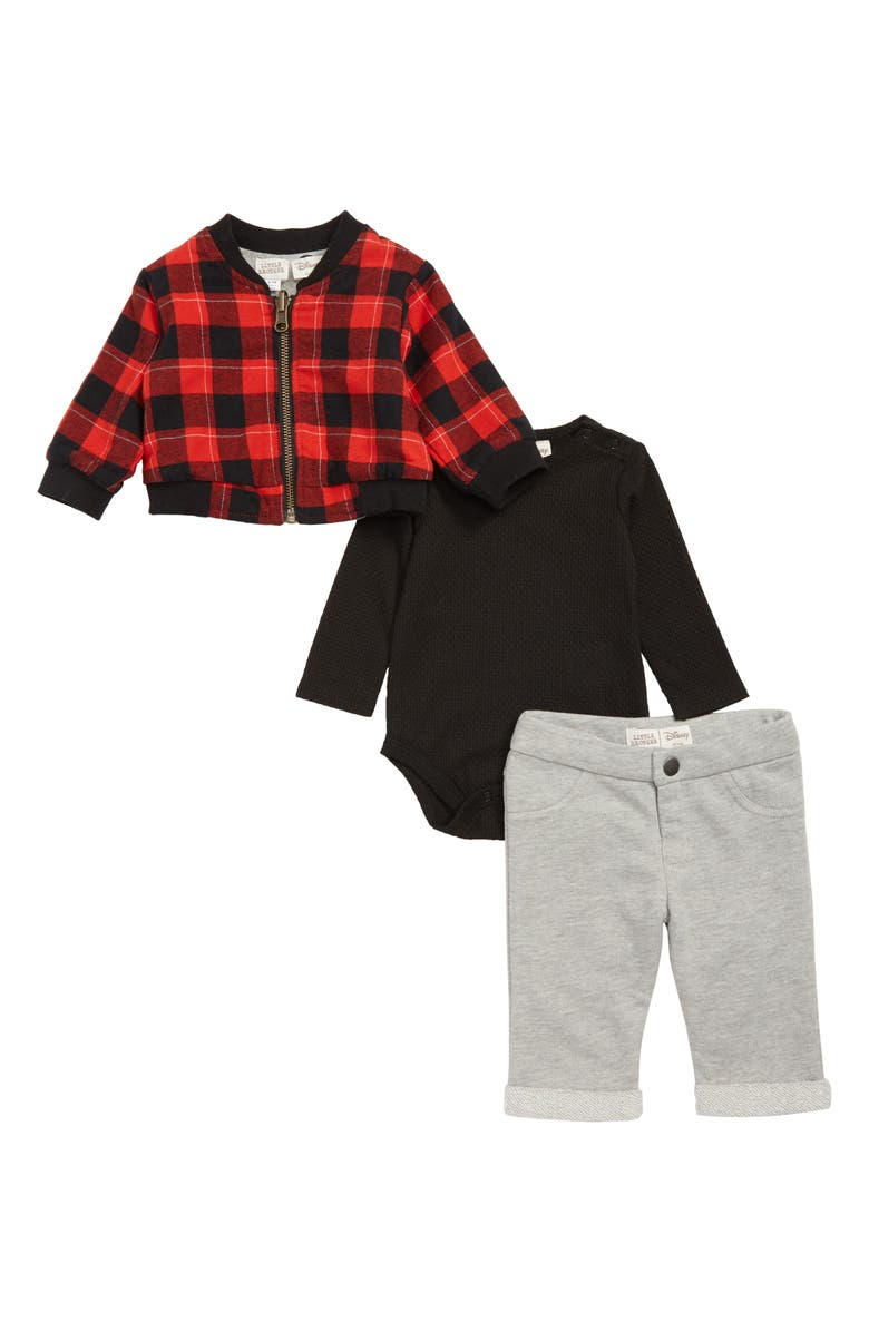 LITTLE BROTHER BY PIPPA & JULIE x Disney<sup>®</sup> Mickey Mouse<sup>®</sup> Reversible Bomber Jacket, Bodysuit & Pants Set, Main, color, RED/ BLACK