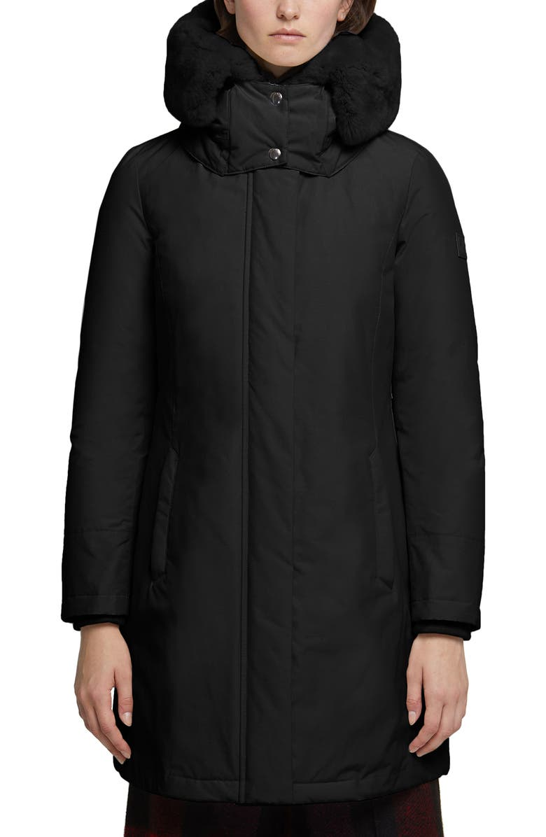 WOOLRICH Bow Bridge Genuine Rabbit Fur Trim Down Parka, Main, color, Black