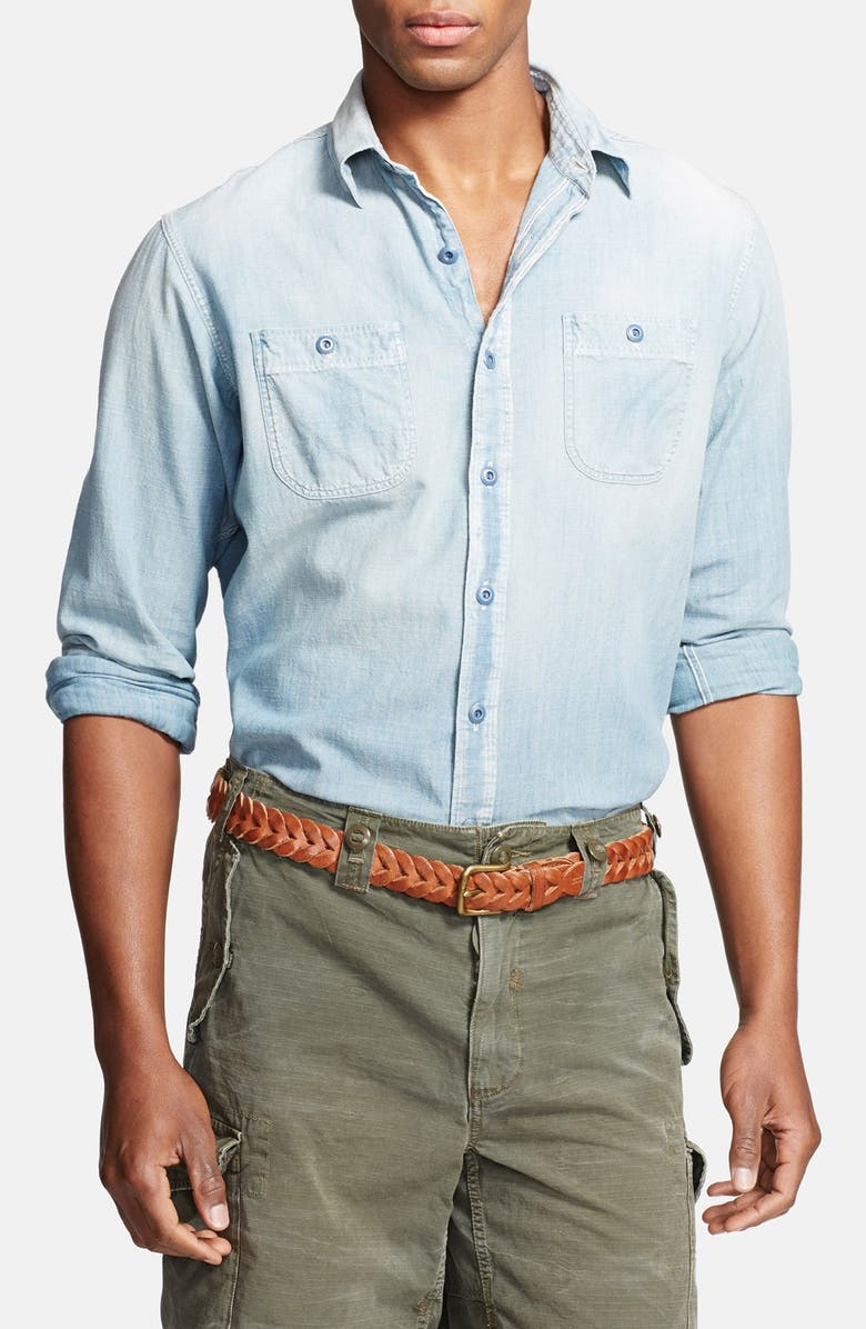 POLO RALPH LAUREN Classic Fit Chambray Sport Shirt, Main, color, 420