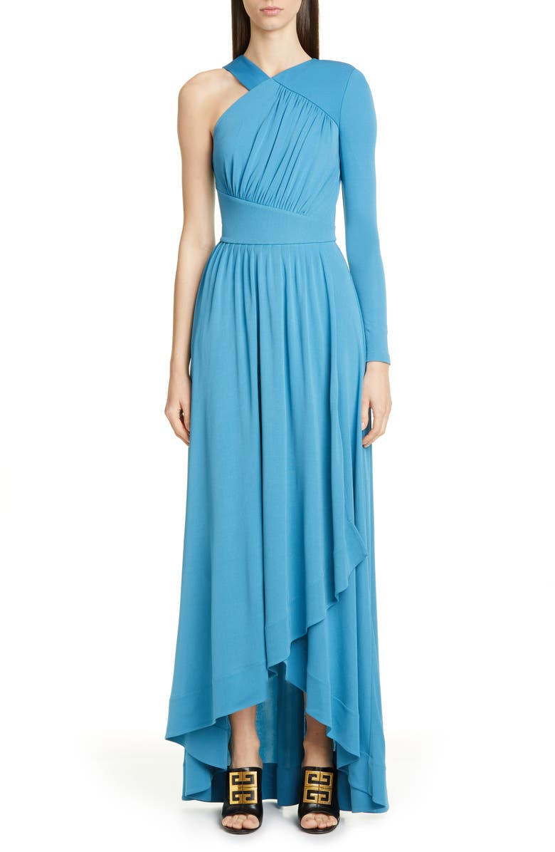 GIVENCHY Draped One-Shoulder Crepe Jersey Gown, Main, color, 457