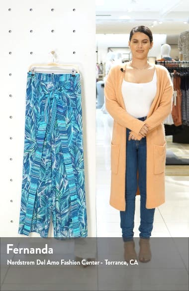 Sketched Leaves Side Slit Cover-Up Pants, sales video thumbnail