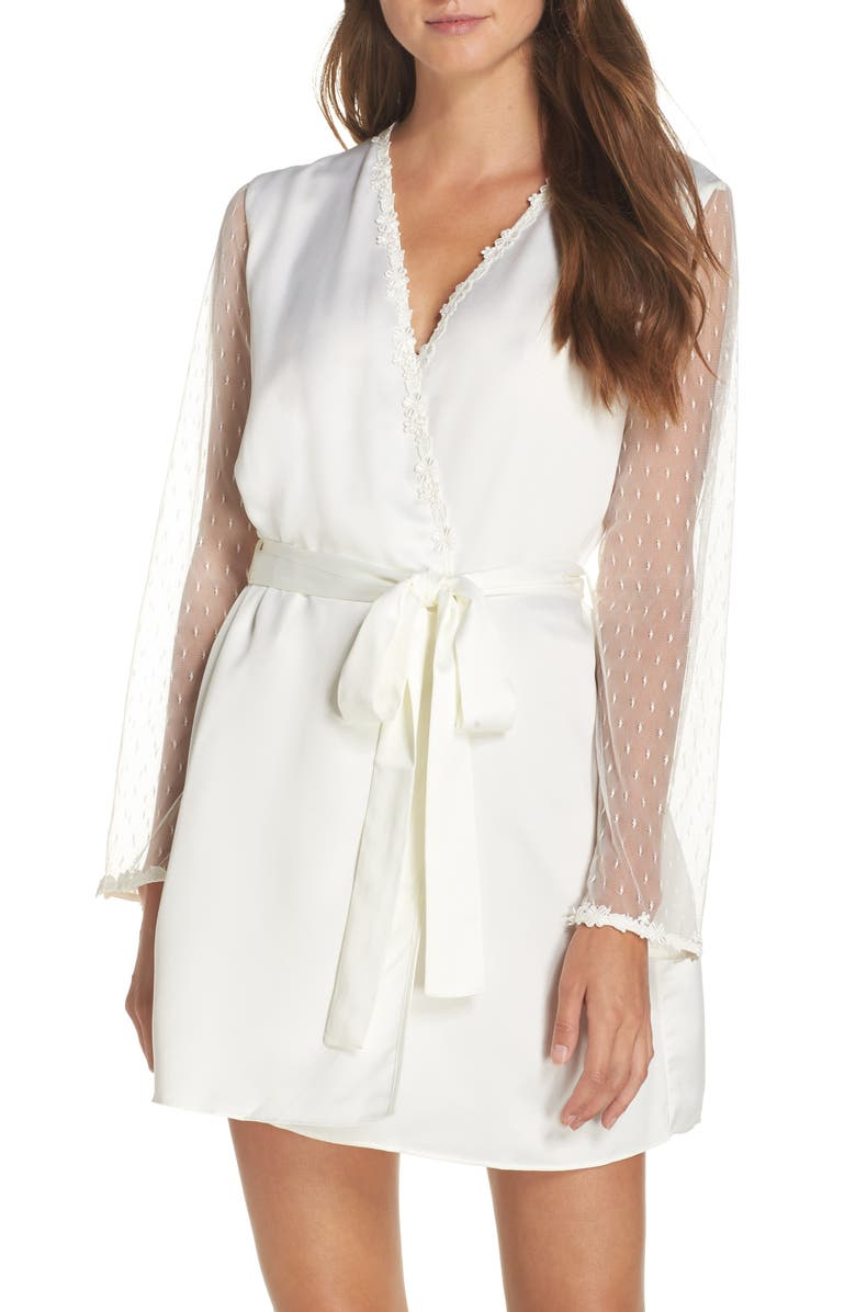 FLORA NIKROOZ Showstopper Robe, Main, color, IVORY