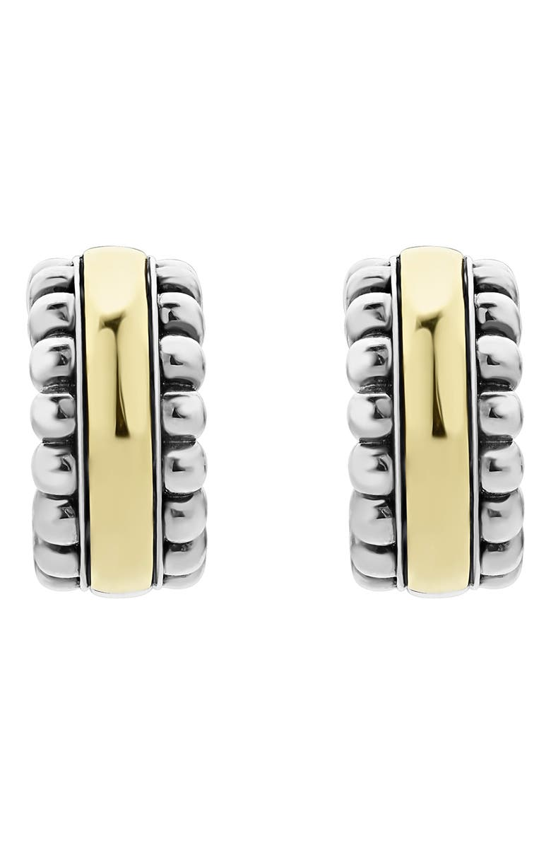 LAGOS Signature Caviar Small Two-Tone Hoop Earrings, Main, color, SILVER/ GOLD