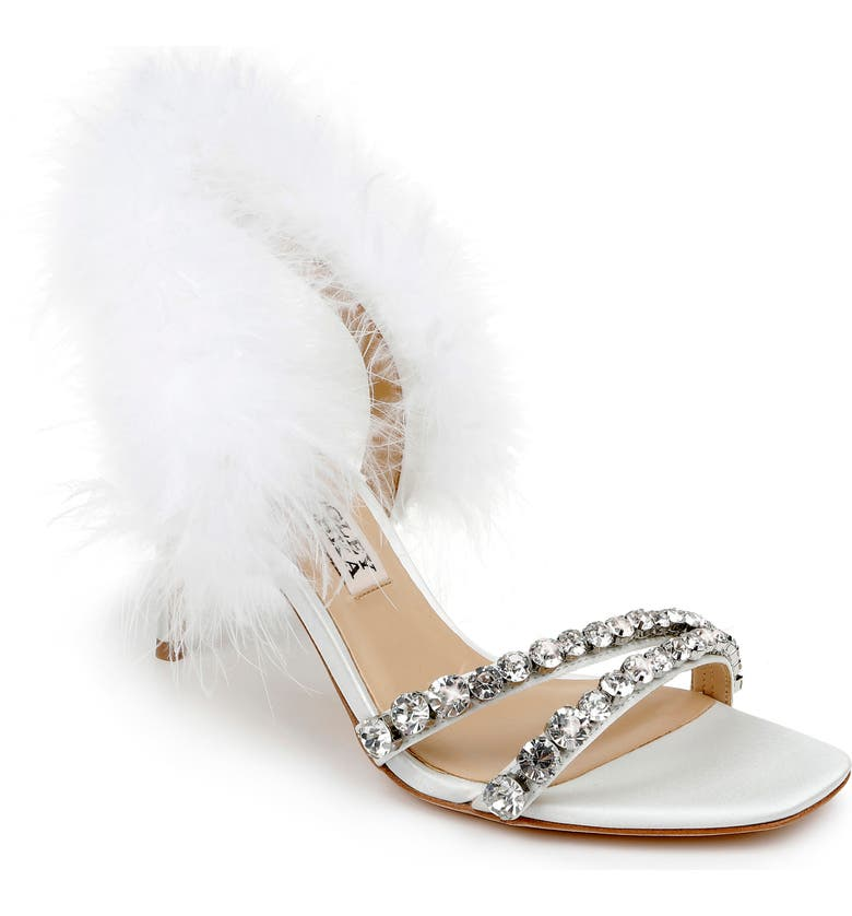 BADGLEY MISCHKA COLLECTION Harley Feather Embellished Sandal, Main, color, SOFT WHITE SATIN